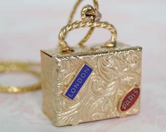 Vintage Suitcase Box Pendant Necklace on Gold Tone Metal Chain
