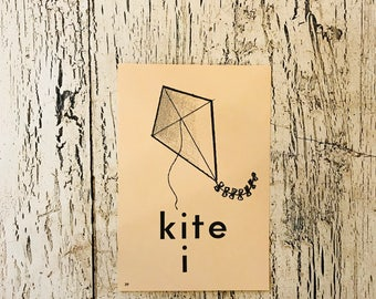 Vintage Alphabet Flash Card - Letter K for Kite Picture Flash Card - Farmhouse Decor, Nursery Decor