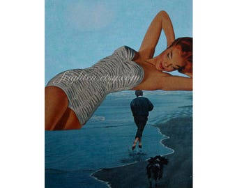 One of a Kind Mixed Media Collage, Paper Collage, 9 x 12 Inch Surreal Art, Summer, Ocean, Amazon Woman, Man Cave Art, Pin up