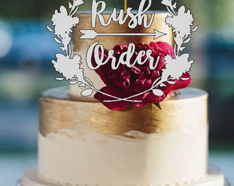 RUSH ORDER - Rustic Cake Topper - Wire Cake Topper - Arrow & Initials Cake Topper - Personalized Cake Topper - Wedding Cake Topper