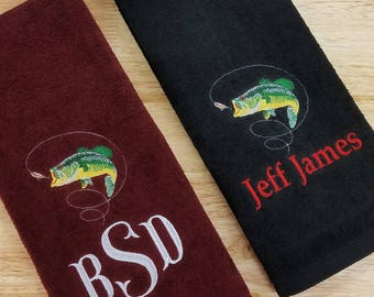 Monogrammed Fishing Towel Personalized Fish Tri-Fold Velour Terry Hand Towel Birthday Gift