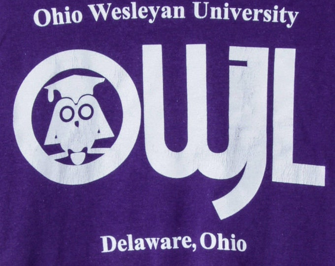 Small Vintage Purple Ohio Wesleyan University T-Shirt Tee | 5AA