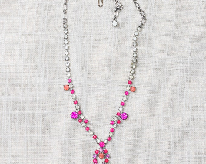 Handcrafted Necklace Hot Pink Coral Purple Hand Painted Rhinestone Chandelier Bib Colorful Choker 7HH