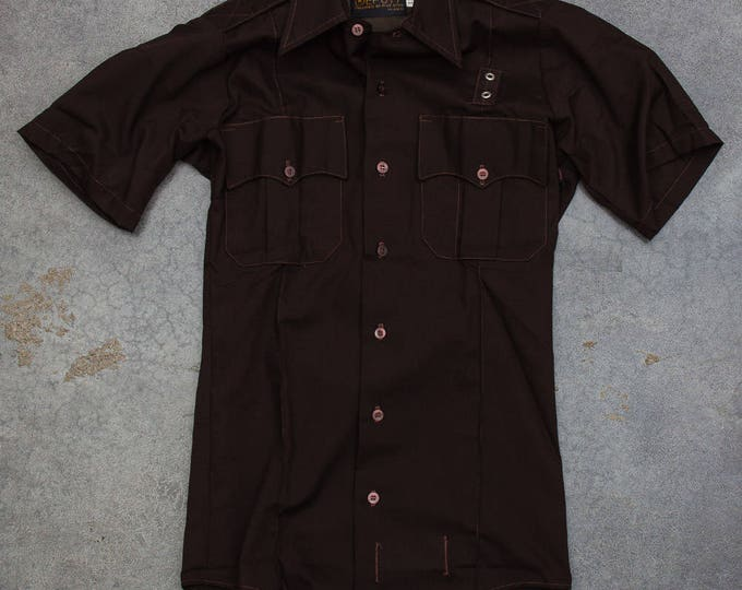 Brown Deputy Uniform Men's Shirt Vintage Size Small Button Down Top Hipster Street Style Tailored by Five Star Mens 7W