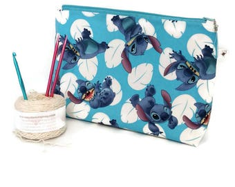 Large Disney Lilo and Stitch Many Faces of Stitch Blue and White Zipper Storage Pouch S328