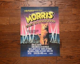"vintage 80s Morris the Cat poster Morris Goes To Hollywood 9 Lives tabby cat poster 1980 vintage poster funny humor poster 22"" x 17"""