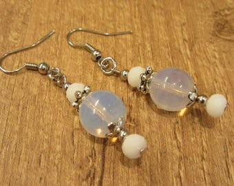 Dangling white earrings