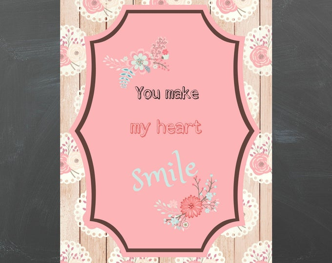 vintage style greetgincard in pink with quote