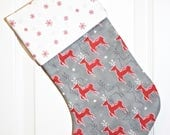 Christmas Stocking Modern Stocking - Moda JOL Stocking - Reindeer, Snowflake, Red, Grey - Family Stocking