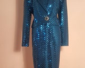 Stunning Vintage 1980s St John Marie Grey Royal Blue Sequined Suit Small to Medium