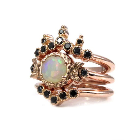 Celestial Priestess Opal and Black Diamond Engagement Ring Set - Faceted Opal Ceremony Rings