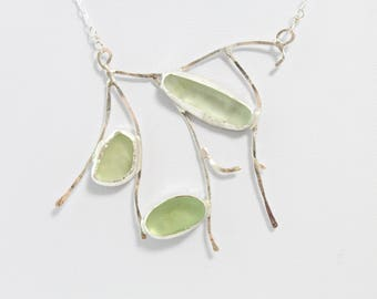 Sterling Silver Sea Glass Necklace, Beach Glass Necklace, Sterling Silver Necklace, Sea Glass Jewelry, Beach Glass Jewelry,Statement Jewelry