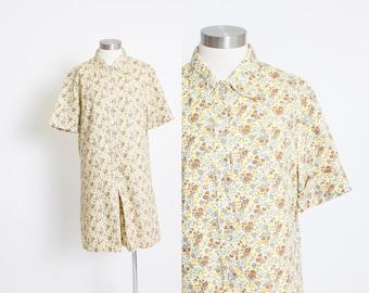 Vintage 1960s Romper - Floral Printed Shorteralls Play Suit NOS - Large / Medium