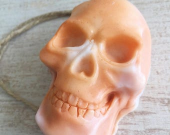 ORANGE SKULL SOAP on a Rope - Patchouli Orange Oil - Halloween - Halloween Party Favor - Halloween Decor - Skull Decor - Gift for Men