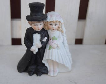 Vintage Cake Topper- Here Comes the Couple, bride and groom cake topper