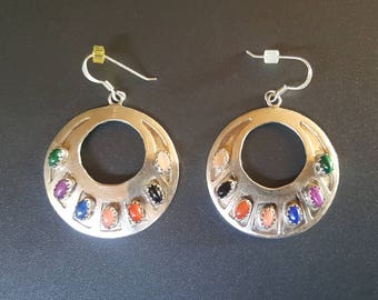 Sterling Multi-Stone Earrings Signed KY Native American