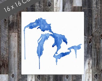 Square Great Lakes Canvas, Michigan Canvas, Great Lakes Art, Great Lakes Watercolor, Michigan Art, Great Lakes Painting, Lake Decor, BigLake