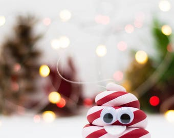 Cute Christmas Candy Cane Poop Emoji Ornament - Hand Painted in USA