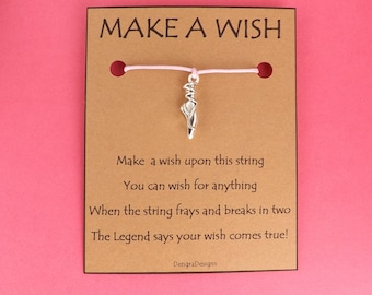 Ballet Pump Wish String Friendship Bracelet Cord Band BFF Stocking Filler Simple Gift Birthday Fits in Greeting Card