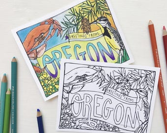 Coloring Postcard, OREGON handdrawn postcard