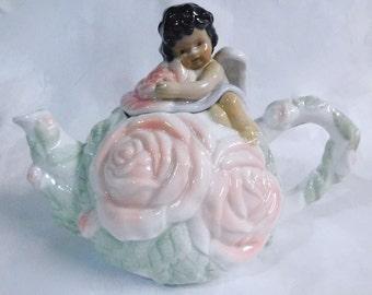 Avon Rose Cherub Collection - Porcelain Teapot, African American Version
