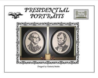 INSTANT DOWNLOAD Presidential Portraits PDF cross stitch pattern Willow Hill Samplings history George Washington Abraham Lincoln Day