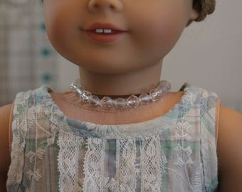 Upcycled Clear Bead Necklace for 18 Inch Doll, AC131