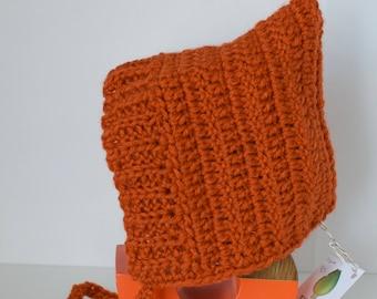 Burnt orange pixie hat // baby bonnet // Spring hat