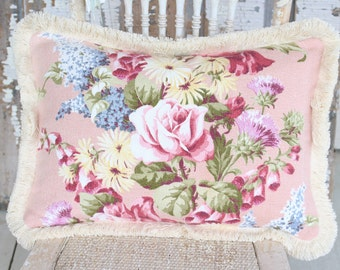 Vintage 1940s Custom Barkcloth Pillow with Pink English Cabbage Roses & Blue Lilac Lavender Florals