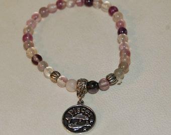 Pisces Zodiac Sign Gemstone Charm Bracelet Flourite Bracelet Stackable Zodiac Jewelry Calming Meditation Bracelet for Her