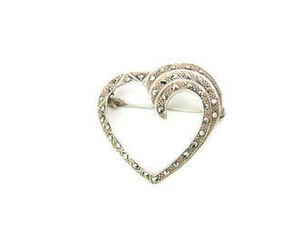 Swirl Heart Brooch. Marcasites & Sterling Silver 925.  Geometric Milgrain. Art Deco Style. Vintage 1980s Jewelry