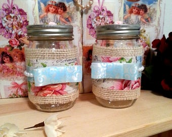 Decorated Mason Jar Set, Decorative Jars, French Country Farmhouse Decor, Romantic, Floral, Vintage Decor, Shabby Chic Decor, Gift for Her