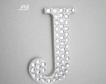"""BLING WALL LETTERS - Handpainted Wood Letter Covered w/ Clear Rhinestones - 5""""or 8"""" in A-Z"""