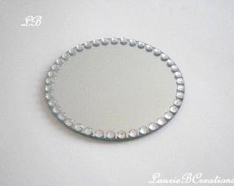 ROUND BLING MIRROR Centerpiece/Candleholder-Decorative Mirror w/Clear Rhinestones For Tabletop, Vanity Tray, Wedding Centerpiece, Vases