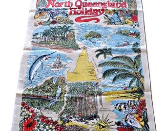Tea Towel Souvenir Tropical North Queensland Holiday Vintage Tea Towel Linen