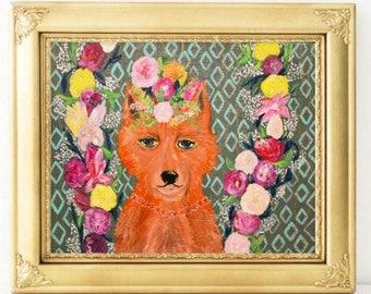 Fox Art-Home Decor-Fox Painting-Fox and Flowers Print-Lady Fox Nursery Painting-Acrylic Art Print-Colorful Fox, Trendy Fox Painting
