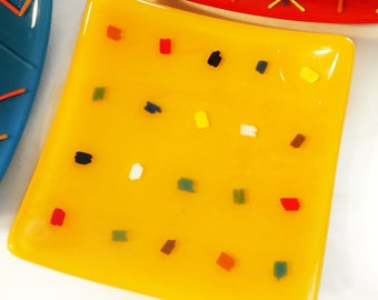 Colorful Dot Glass Plate, Custom Color and Size