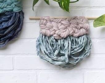 Nursery Wall Art   Woven Wall Hanging   Modern Weaving with Wool Top and Draped Sari Silk Yarn Fringe