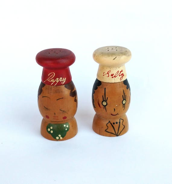 Vintage 1950's Wooden Salty and Peppy Salt and Pepper Shakers Made in Japan