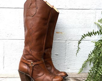 7.5 M | 1970's Vintage Women's Tall Western WRANGLER Campus Boots