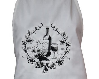 French Wine Lover's embroidered apron.  Free personalization