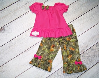 Camo Ruffle Outfit / Shirt + Pants / Realtree & Pink / Deer / Hunting / Birthday / Newborn / Infant / Baby/ Girl/ Toddler/ Boutique Clothing
