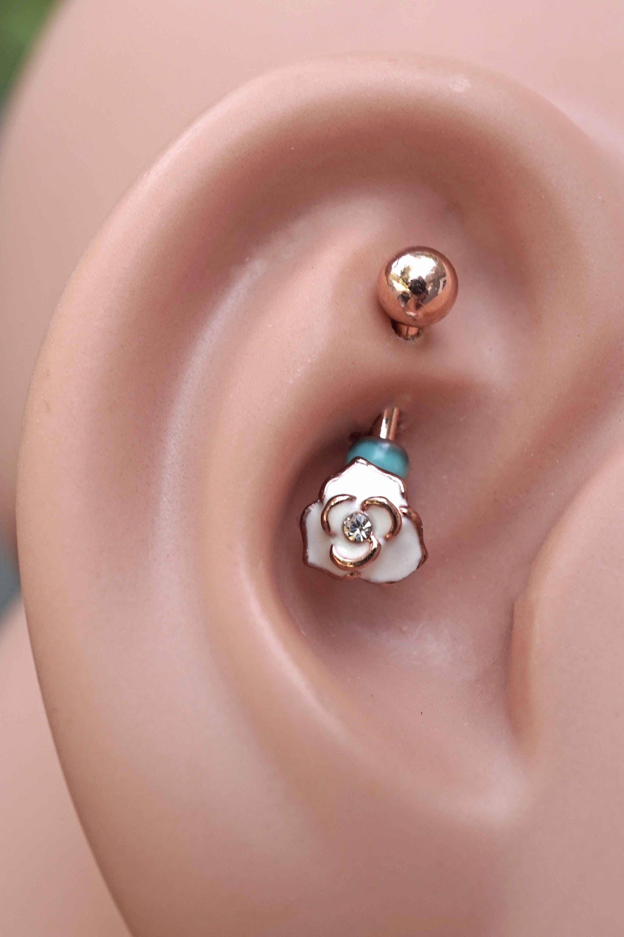 White Rose Rose Gold Rook Earring Daith Piercing Eyebrow Ring