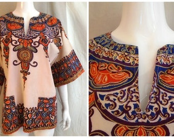 Vintage 1970s Dashiki Shirt Cotton Print Pullover African Woodstock Mans M Womans XL