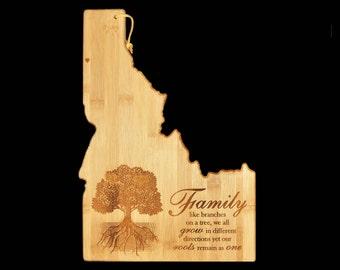 Coeur d'Alene Idaho Cutting Board, Personalized Cutting Board, Custom Cutting Board, Family, Wedding,  Bridal Shower, Gift