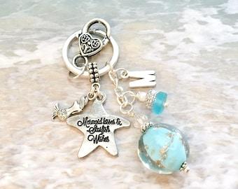 Mermaid Keychain, Mermaid Keyring, Mermaid Lover Gift, Personalized Mermaid Gifts, Mermaid Car Accessories, Mermaid Bridesmaid Gift