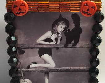 Halloween Vintage Photo of Pinup Woman Witch Altered Art/ Made From Re-Purposed Jewelry