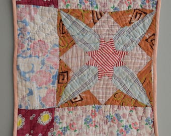 "Antique Pink Star 18"" Doll Coverlet"