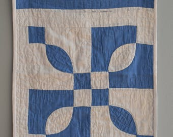 Blue and White Wall Hanging or Fragile Doll Quilt