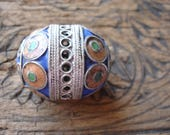 Enamel large Moroccan tarnished blue and yellowy/orange and green focal barrel bead